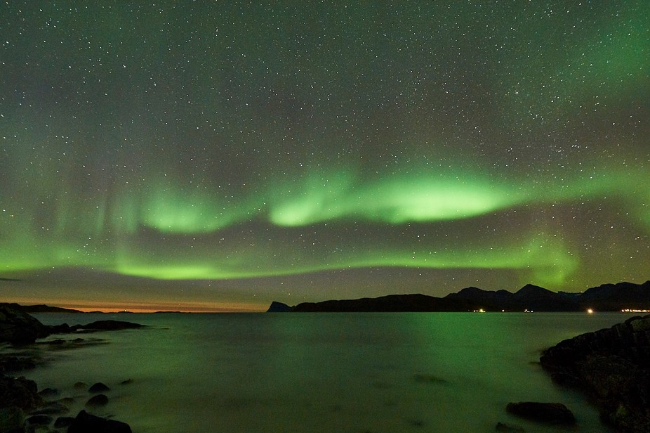 Northern Lights photographed at Kvaløya in Troms region of Norway