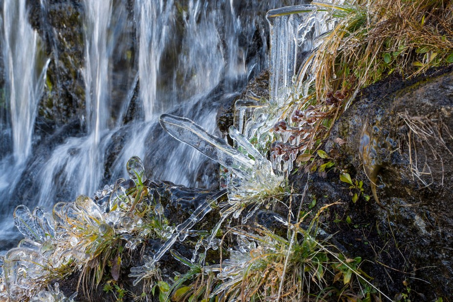Tiny waterdrops of a little waterfall formed a layer of cristalclear ice during the first freezin...