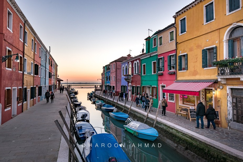 Burano canal view at sunset. Nikon D810