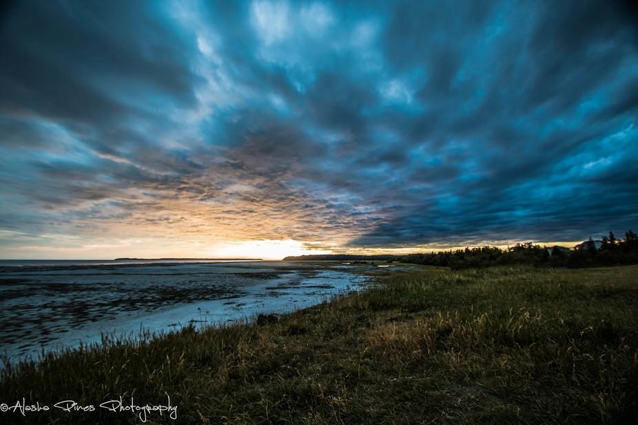Sunset along the Turnagin Arm, in Anchorage, Alaska.