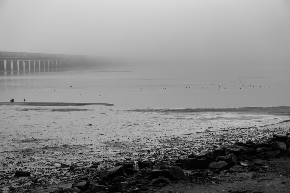 It was a foggy day and I was walking along the beach. A train was crossing the lake and I loved t...
