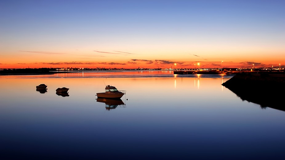 Nice sunset reflection at montijo old docs