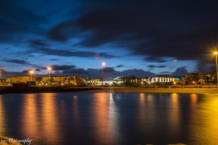 Long exposure photo of the city Caleta de Fuste on the island Fuerteventura