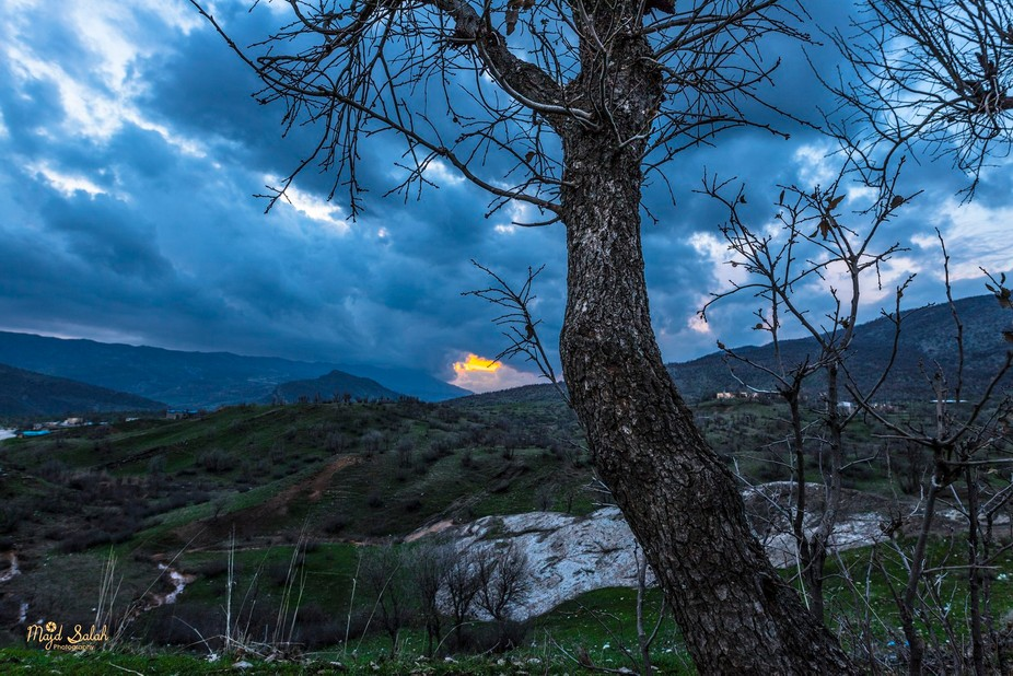 This photo is taken in Nahla village in Kurdistan region of Iraq at the sunset time with a sky fu...