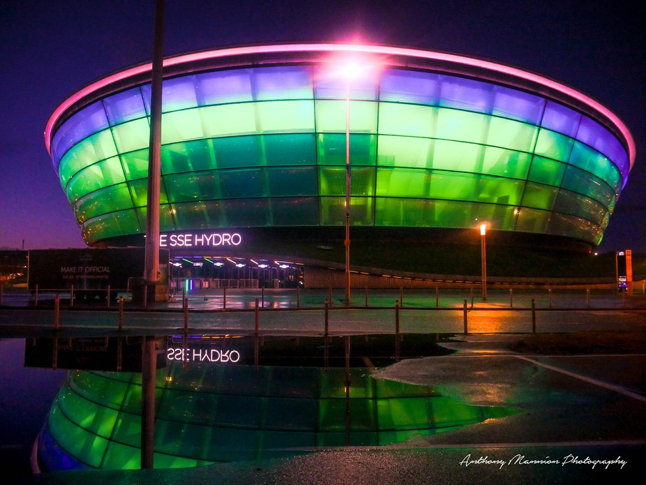 Night visit after a heavy  rainstorm at Finnieston's Pacific Quay in Glasgow