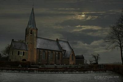 Village Church in Moonlight