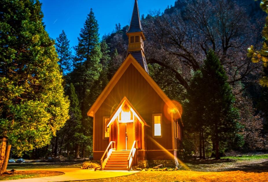 Yosemite Chapel Moon light
