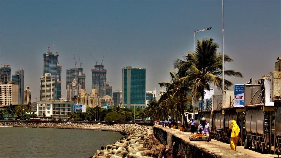 Mumbai city, maximum city. The view close to Haji Ali where the old and the new co-exist.