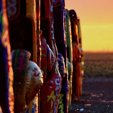 Cadillac Ranch Sunset.  Amirillo, Texas