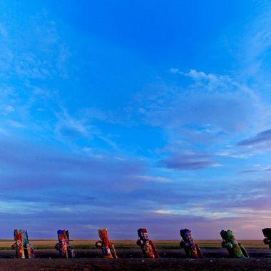 Cadillac Ranch Sunset, Amarillo, Texas,