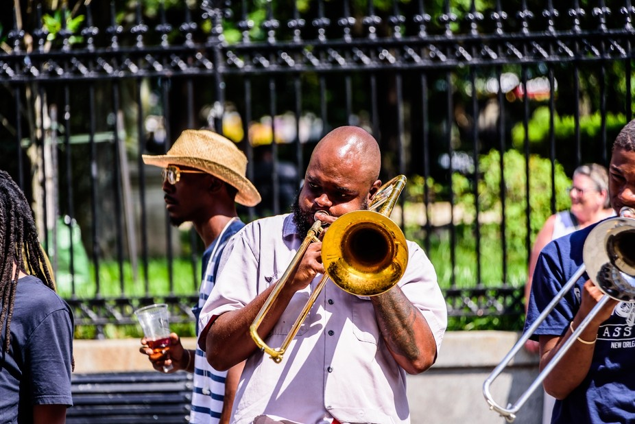 Part of the street band, at Jackson Square, NOLA