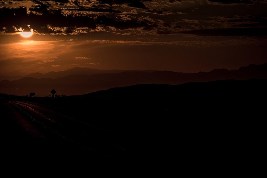 Orange sunrise at Red Rock Canyon, Nevada.