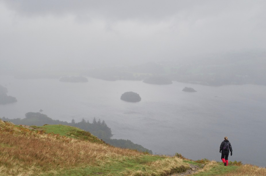 Derwent Water from Catbells on a wet day