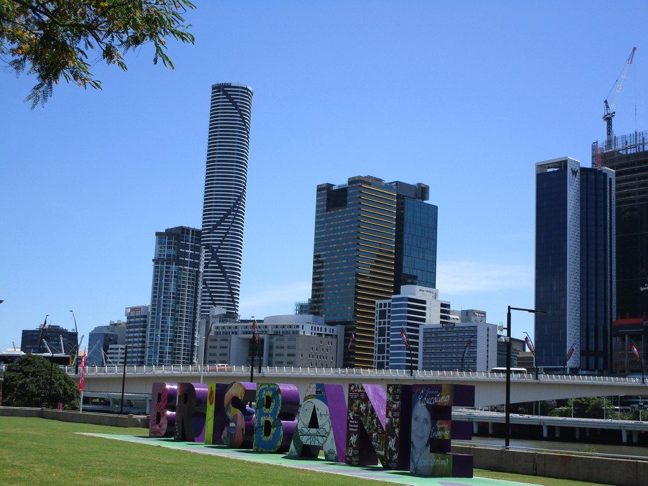 Colorful lettering welcomes visitors to Brisbane City, Queensland, Australia's modern ci...