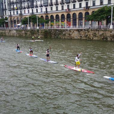 Paddle board racing in Bilbao, Spain