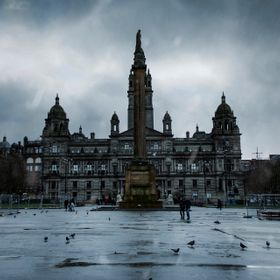 The amazing George Square of Glasgow shot a cloudy and very rainy day.