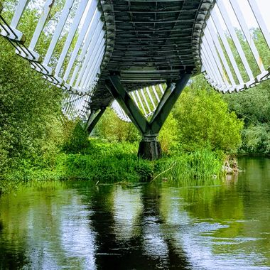 Designed by students at University of Limerick  and built by the Eifel Co. this bridge spands the river Shannon and vibrates in rhythm to your steps as you walk across